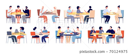 People play board game. Family playing cards, friends at table gaming. Happy young and elderly players, chess chips poker gamers vector set 70124975