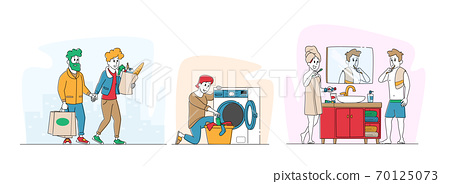 Happy Couple Characters Routine Matters. Man, Woman Shopping at Grocery, Washing Clothes and Brushing Teeth in Bathroom 70125073