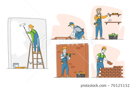 Set of Home Repair Characters. Workers in Robe Carpentry and Maintenance Works Painting and Drilling Wall, Laying Bricks 70125132