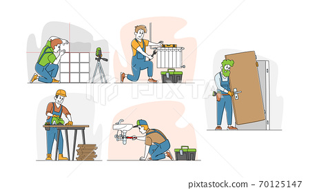 Set of Handyman Service Works, Men Installing Door, Set Up Heating System Pipes, Laying Tiles on Wall, Fixing Leakage 70125147