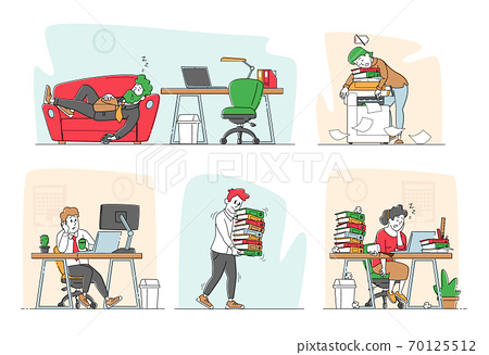 Set of Tired Workers in Office. Overworked Business Characters Sleep on Workplace Desk. Laziness, Emotional Burnout 70125512