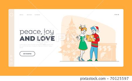 People Caroling Landing Page Template. Happy Characters Wearing Santa Claus, Reindeer Hats Christmas Singing Songs 70125597