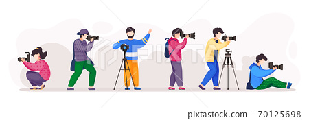 Photographers or paparazzi with photocamera taking photo from different poses, using tripod 70125698