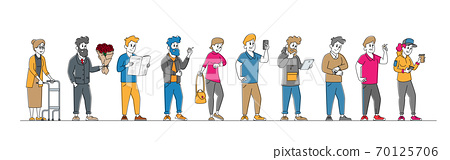 Customer Stand in Line at Grocery or Supermarket Queue with Goods. People Shopping Holding Smartphones in Hands 70125706