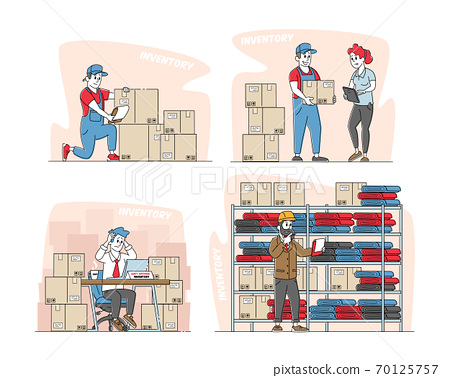 Set Physical Inventory Count Management. Storekeeper Characters Manage Warehouse Cargo Loading, Unloading Sorting 70125757