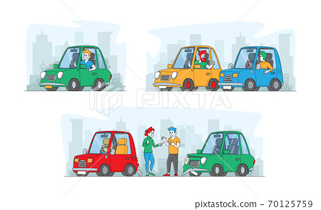 Road Aggression, Conflict at Car Accident, Drivers Arguing Standing on Roadside at Automobiles. Insurance Situation 70125759