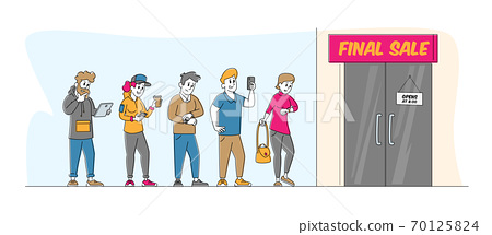 Diverse People Dressed in Standing in Queue Waiting Shop Doors Opening for Sale. Customers Shopping in Store, Discount 70125824