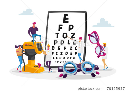 Professional Optician Exam for Vision Treatment. Ophthalmologist Doctor Character Check Eyesight for Eyeglasses Diopter 70125937