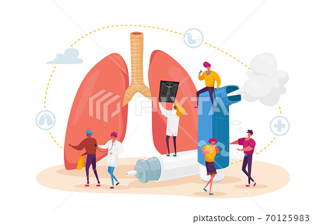Pulmonology and Asthma Disease. Tiny Characters at Huge Lungs and Inhaler, Respiratory System Examination and Treatment 70125983