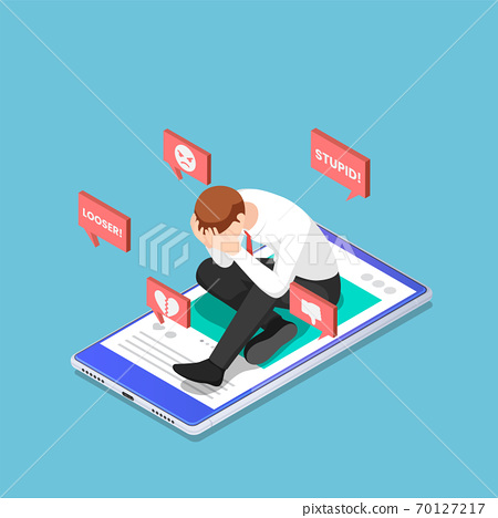 Isometric Depressed Businessman Sitting on The Smartphone with Hate Speech from Social Media 70127217