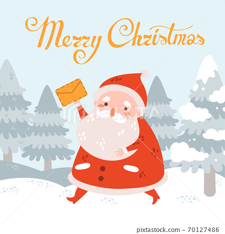 Merry christmas vector postcard with Santa Claus with letter in winter landscape 70127486