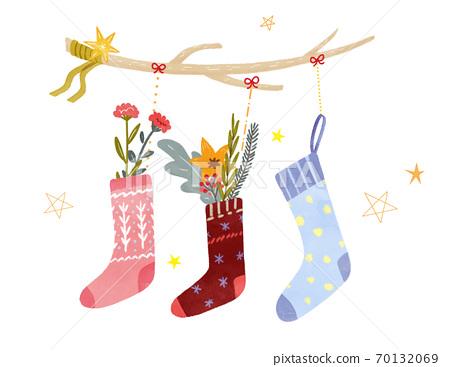 聖誕襪裝飾手繪插圖 70132069
