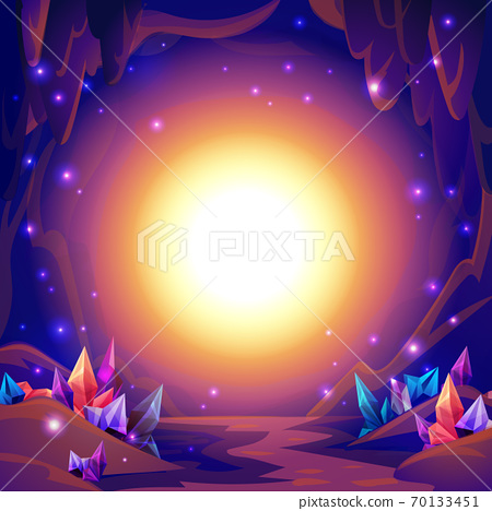 Magic cave. Fairy landscape of a cave with crystals and mystery lights. Fantasy background. 70133451