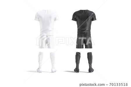 Blank black and white soccer uniform mockup set, back view 70133518