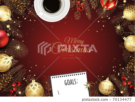Merry Christmas and Happy New Year. Xmas background with poinsettia, Snowflakes, star and balls design. 70134477