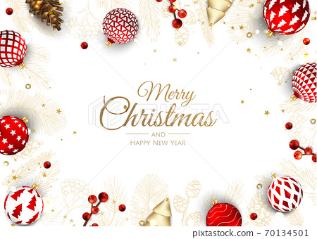 Merry Christmas and Happy New Year Holiday white banner illustration. Xmas design with realistic vector 3d objects, golden christmass ball, snowflake, glitter gold confetti. 70134501