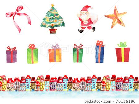 各種聖誕節套畫水彩 70136196