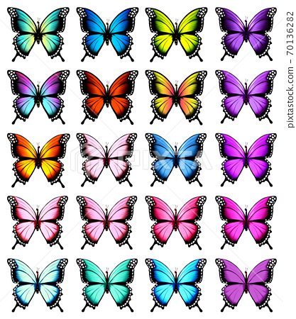 Colorful butterflies set. Vector. 70136282