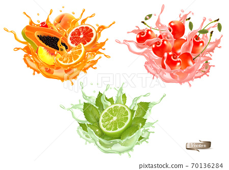 Sweet exotic juice splash. Whole and sliced papaya, cherry, peach, grapefruit and orange in a sweet juce or cocktail with splashes and drops isolated on transparent background. 3D. Vector. 70136284