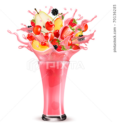 Pink berry juice splash. Whole and sliced strawberry, raspberry, cherry, blackberry, peach and pear in a sweet juice or cocktail with splash and drops isolated on transparent background. 3D. Vector. 70136285