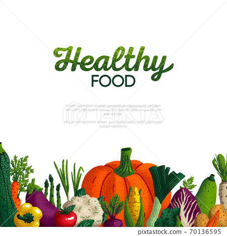 Healthy food banner design. Variety of decorative green vegetables with grain texture on white background. Farmers market, Organic food poster or banner design. Vector illustration. 70136595