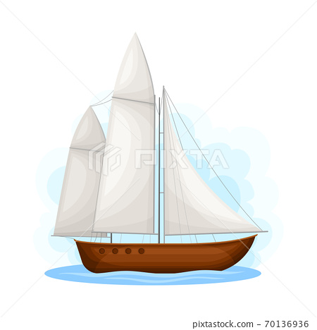 Sailing Boat with Mast ans Sails as Water Transport Vector Illustration 70136936