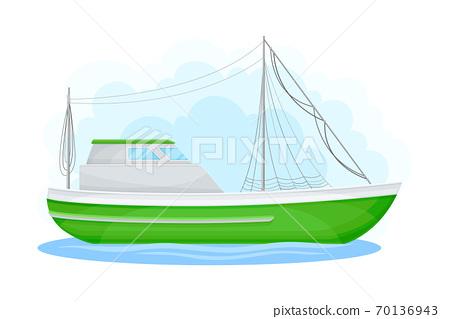 Regular Ship with Cabin as Water Transport Vector Illustration 70136943