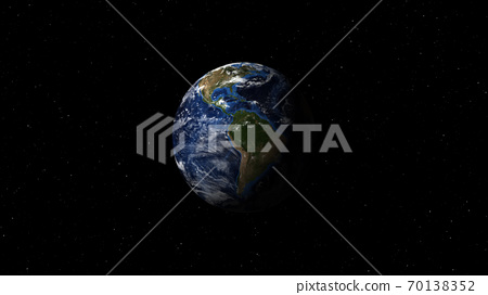 Planet earth from space. Day to night realistic world globe spinning slowly animation. full revolution of the planet around its axis.(Elements of this image furnished by NASA.) 70138352