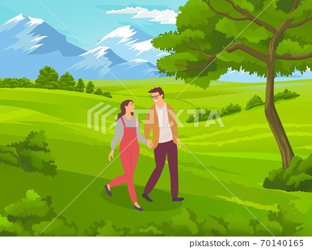 Couple walking in a park. Young guy and girl holding hands walking in summer garden, romantic walk 70140165