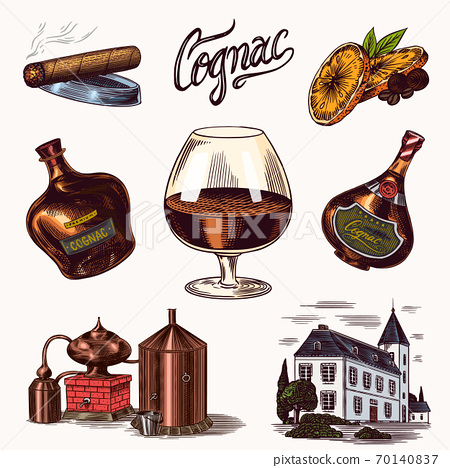 Cognac and glass. Bottles with labels, cigar and cocktail, sweets and farm, chocolate and man 70140837