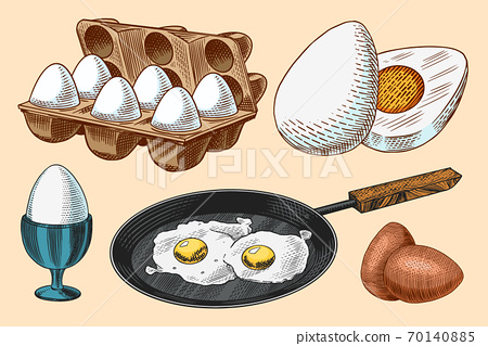 Frying pan with fried eggs and scrambled omelette, Shell and yolk. Farm product. Engraved hand drawn 70140885