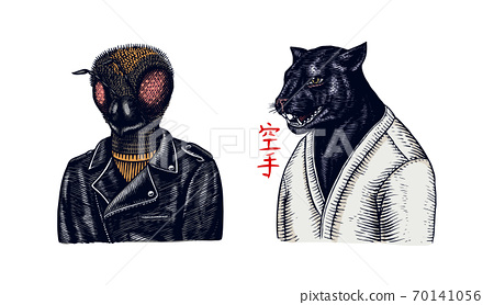 Black panther wrestler or cat fighter and Bee biker. Japanese text means: karate. Fashion Animal 70141056