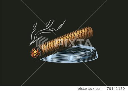 Cigar or smoke, Gentleman emblem. Bad habit. Classic cigarette. engraved hand drawn in old vintage 70141120