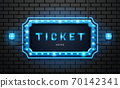 light neon sign ticket on brick wall background 70142341