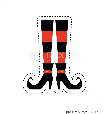 Sticker of a witch legs icon 70142595