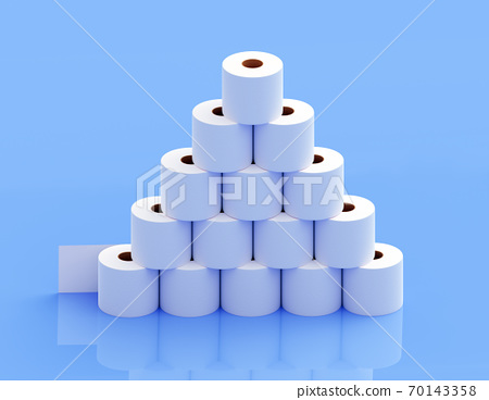 A pyramid of toilet paper on a blue background 70143358