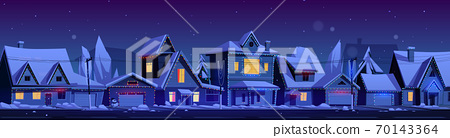 Residential houses with christmas decoration 70143364