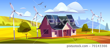 House with solar panels on roof and wind turbines 70143366