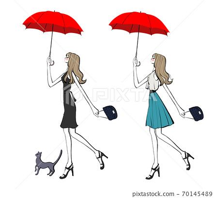 兩個衣服版本,一個女人和一隻貓帶著雨傘走。 70145489