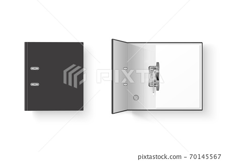 Vector 3d Closed and Opened Realistic Black Blank Office Binder Set with Metal Rings with A4 Paper Sheet Closeup Isolated on White Background. Design Template, Mockup, Top View 70145567