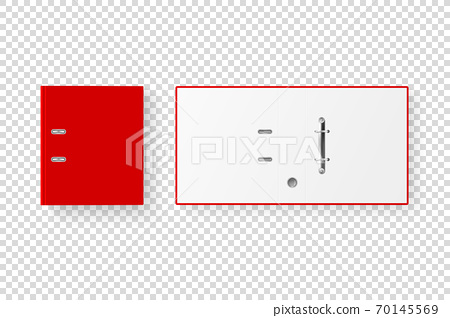 Vector 3d Closed and Opened Realistic Red Blank Office Binder Set with Metal Rings for A4 Paper Sheet Closeup Isolated on Transparent Background. Design Template, Mockup, Top View 70145569