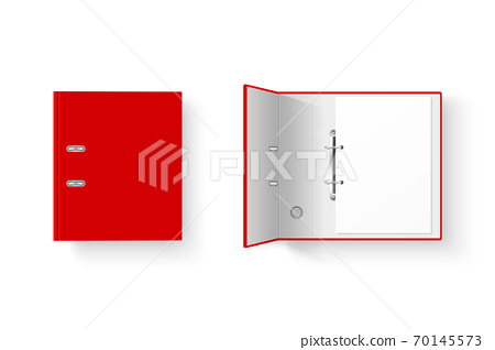 Vector 3d Closed and Opened Realistic Red Blank Office Binder Set with Metal Rings with A4 Paper Sheet Closeup Isolated on White Background. Design Template, Mockup, Top View 70145573