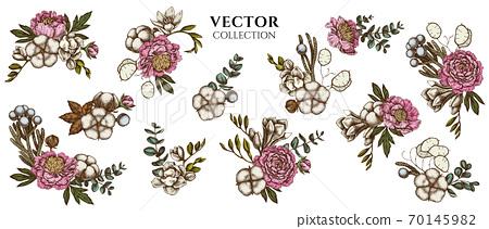 Flower bouquet of colored ficus, eucalyptus, peony, cotton, freesia, brunia 70145982