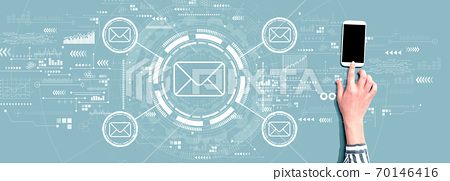 Email concept with person using smartphone 70146416