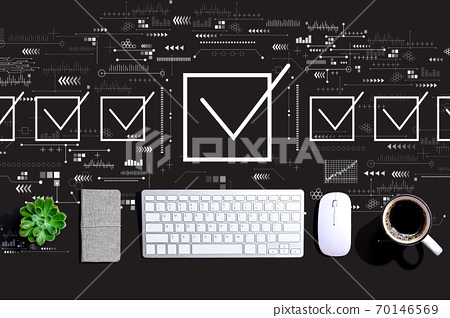 Checklist concept with a computer keyboard 70146569
