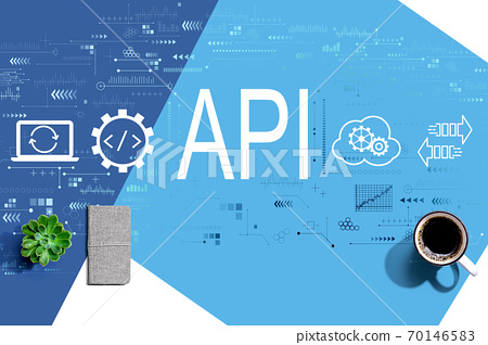 API - application programming interface concept with a cup of coffee 70146583