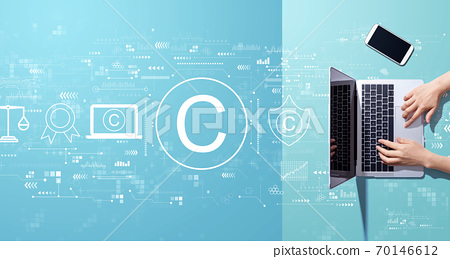 Copyright concept with person working with laptop 70146612