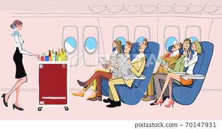 乘務員與在飛機上等飛機餐的人 70147931
