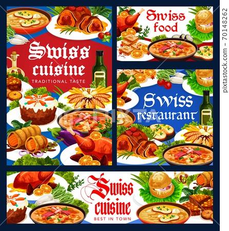 Swiss food, restaurant cuisine vector banners set 70148262