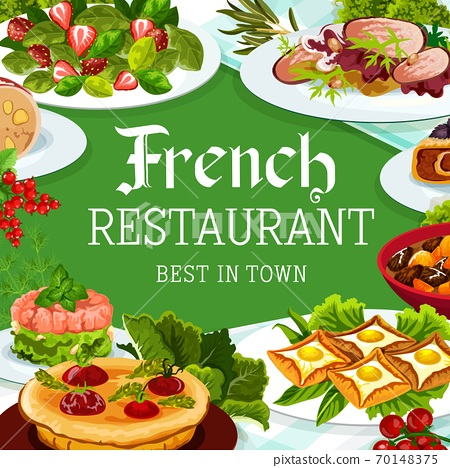 French cuisine, vector France meals, dishes poster 70148375
